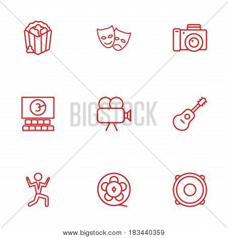 Set Of 9 Pleasure Outline Icons Set.Collection Of Film Role, Guitar, Masks And Other Elements.