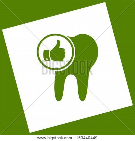 Tooth sign with thumbs up symbol. Vector. White icon obtained as a result of subtraction rotated square and path. Avocado background.
