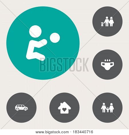 Set Of 6 People Icons Set.Collection Of Automobile, Playing, Nappy And Other Elements.