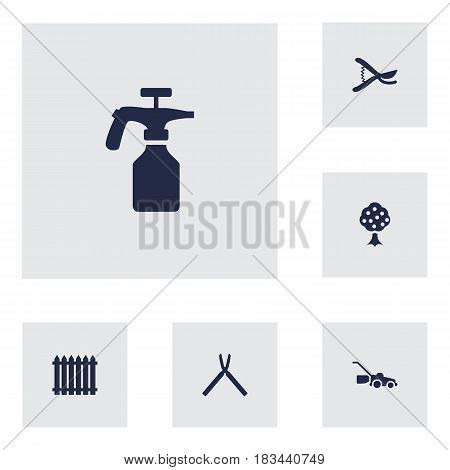 Set Of 6 Farm Icons Set.Collection Of Scissors, Spray Bootle, Lawn Mower And Other Elements.
