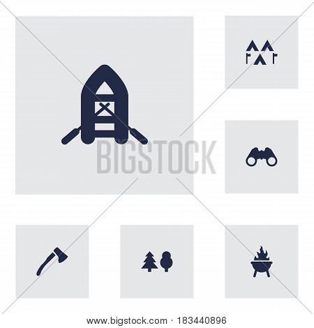 Set Of 6 Camping Icons Set.Collection Of Optical Zoom, Tree, Bbq And Other Elements.