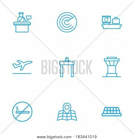 Set Of 9 Aircraft Outline Icons Set.Collection Of Control Tower, Luggage Check, No Smoking And Other Elements.