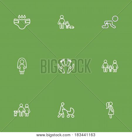 Set Of 9 Relatives Outline Icons Set.Collection Of Playing, Stroller, Skipping Rope And Other Elements.