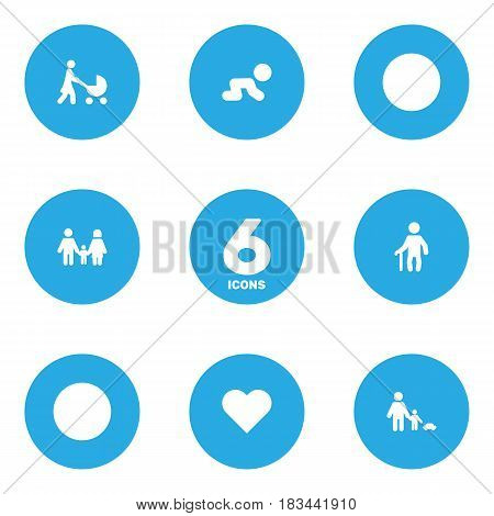 Set Of 6 Relatives Icons Set.Collection Of Father With Son, Heart, Creep Baby And Other Elements.
