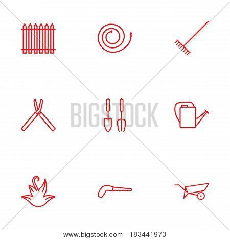 Set Of 9 Household Outline Icons Set.Collection Of Instruments, Barrow, Firehose And Other Elements.