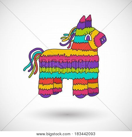 Pinata vector cartoon icon with round shadow