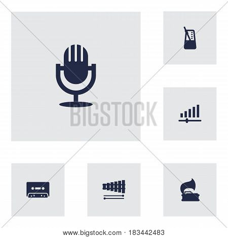 Set Of 6 Music Icons Set.Collection Of Percussion, Rhythm Motion, Turntable And Other Elements.