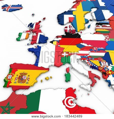 3D Map Of Western Europe With National Flags On White Background 3D Illustration