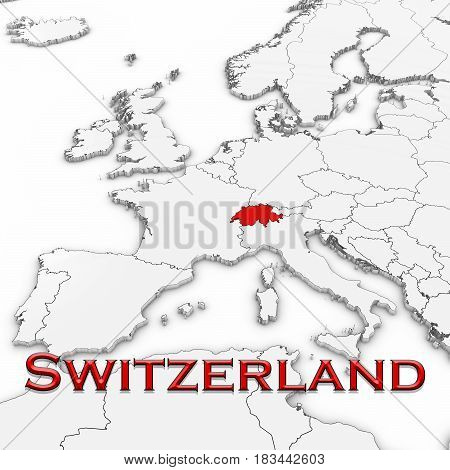 3D Map Of Switzerland With Country Name Highlighted Red On White With White Background 3D Illustrati