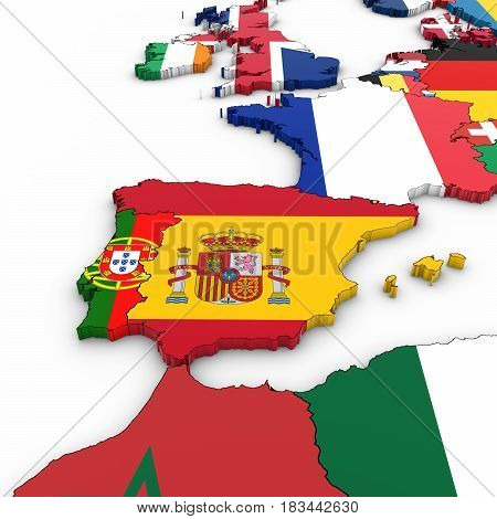 3D Map Of Spain And Portugal With National Flags On White Background 3D Illustration