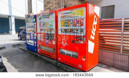 Okinawa Japan - April 19 2017Vending machines in Okinawa. Japan has the highest number of vending machine per capita in the world at about one to twenty three people.