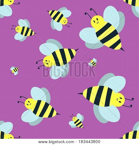Cartoon and sweet yellow bee. Summer worker bug with antenna. European western honey nature wing fly insect flat vector. Rapae summer wildlife environment animal.