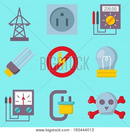Energy electricity power icons battery vector collection electrician voltage socket technology warning lightning equipment. Industrial connector adapter and power station.