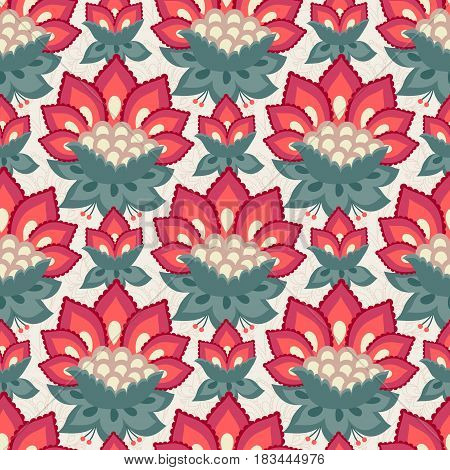 Floral seamless pattern Jacobean style flowers. Colorful herbal background. Vector illustration.
