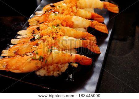 Sushi shrimp egg and shrimp Japanese food