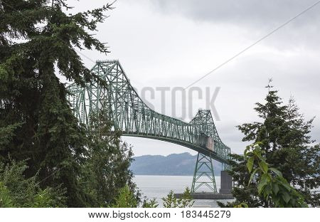 Very large bridge over the ocean in Astoria Oregon.