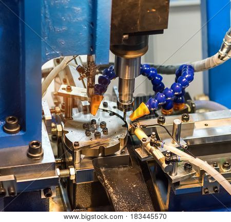 CNC turning machine drilling process in metal industry