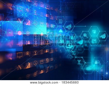 Business And Learning Icon  On Blue Technology Background
