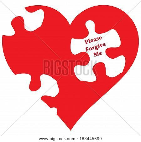 Stylized heart with puzzles and text Please forgive me poster