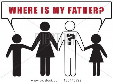 Social banner on the topic of an incomplete family. Where is my father?