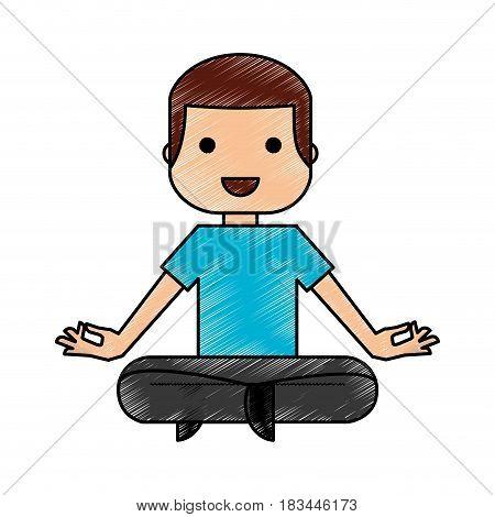 man practicing yoga character vector illustration design