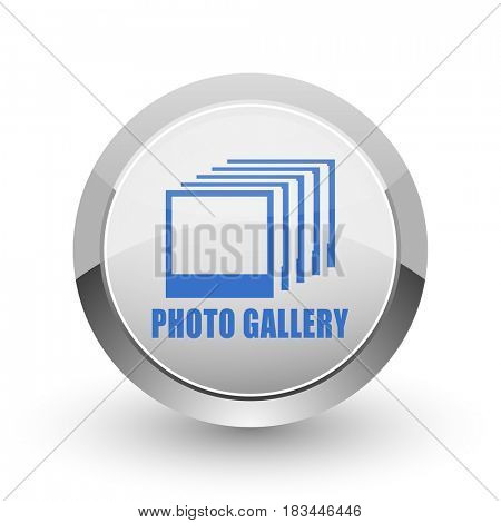 Photo gallery chrome border web and smartphone apps design round glossy icon.