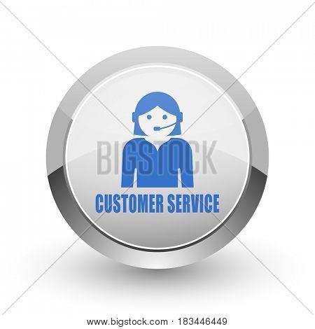 Customer service chrome border web and smartphone apps design round glossy icon.