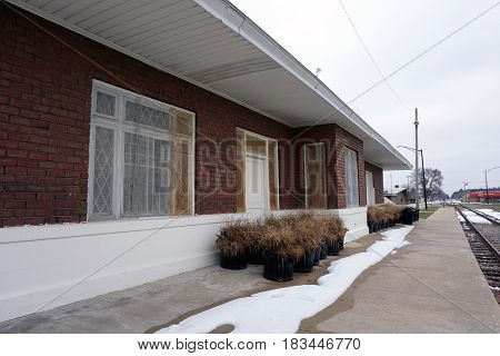The loading platform of the historic Train Depot is now the back of the Kalkaska Historical Museum in downtown Kalkaska.