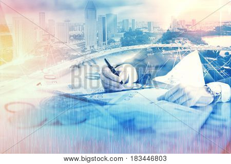 Double exposure of businessman and cityscape - Business concept Immovable property concept