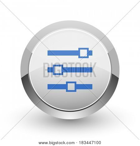 Slider chrome border web and smartphone apps design round glossy icon.
