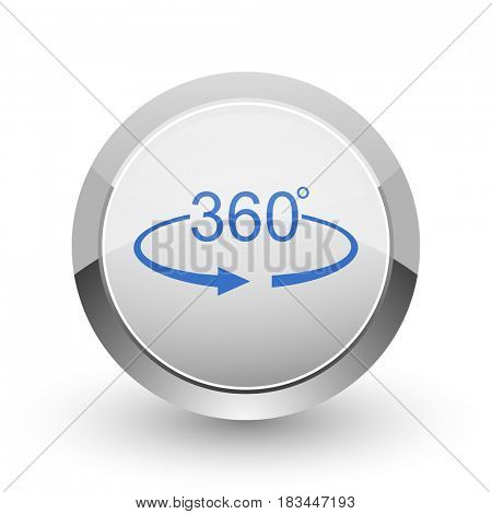 Panorama 360 chrome border web and smartphone apps design round glossy icon.
