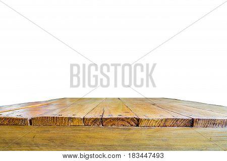 Old grunge wooden table isolated on white background for products display
