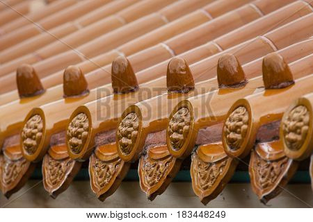 Traditional Chinese glazed roof tiles.