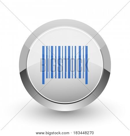 Barcode chrome border web and smartphone apps design round glossy icon.