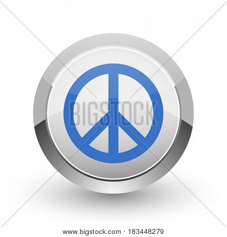 Peace chrome border web and smartphone apps design round glossy icon.