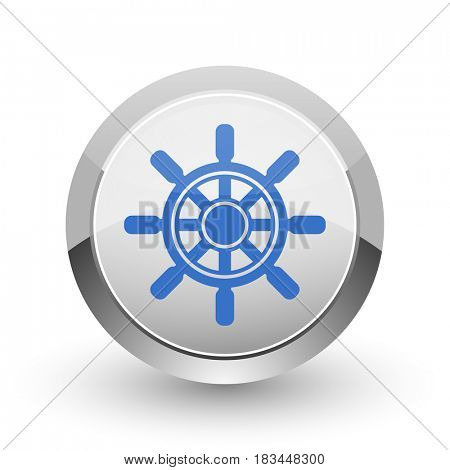 Ship wheel chrome border web and smartphone apps design round glossy icon.