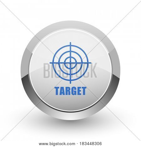 Target chrome border web and smartphone apps design round glossy icon.