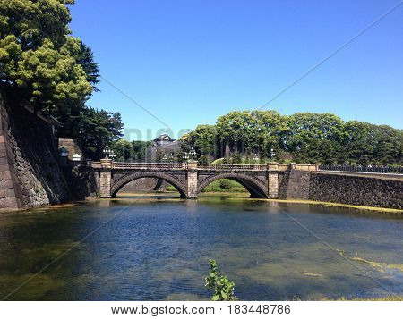 Reflection of the bridge on the water looking like the eye glasses Imperial Palace