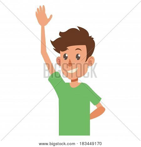 young boy teen hand up smile vector illustration