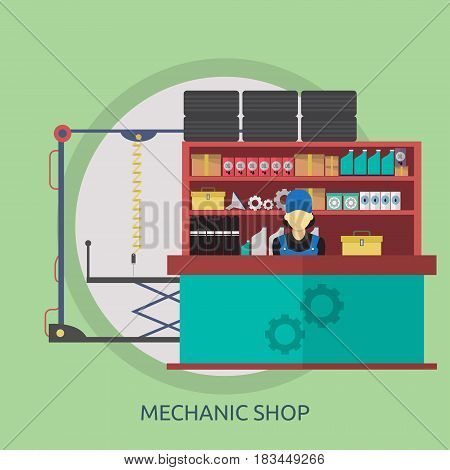 Mechanic Shop Conceptual Design | Great flat illustration concept icon and use for mechanic, car repair, industrial, transport, business concept, and much more.