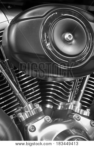 An image close up of motorcycle engine details