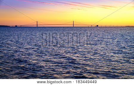 Scenic view of Straits of Mackinac and Mackinac Bridge in Michigan at sunset