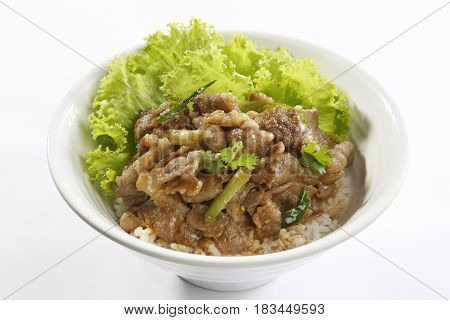 Fried Rice With Sauteed Pork And Lettuce On White Background