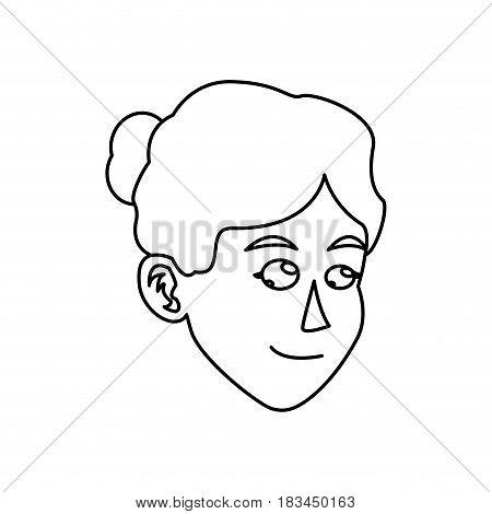 character face woman bun hair outline vector illustration