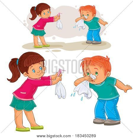 Vector illustration of a little girl giving a handkerchief to a boy sick with snot, allergy. Print