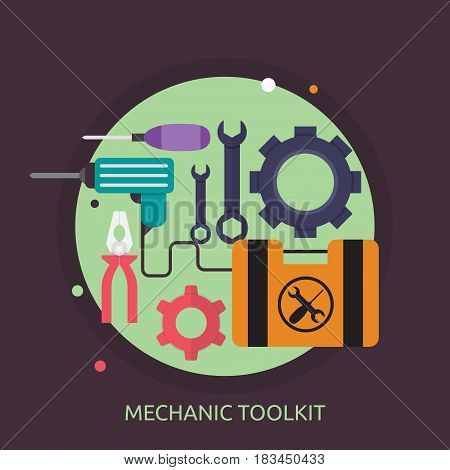 Mechanic Toolkit Conceptual Design | Great flat illustration concept icon and use for mechanic, car repair, industrial, transport, business concept, and much more.