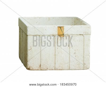 Old foam box isolated on white background