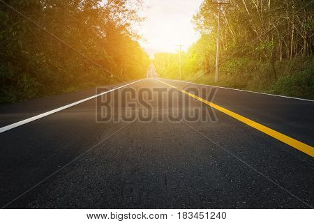 Close up road between trees and beautiful sunset