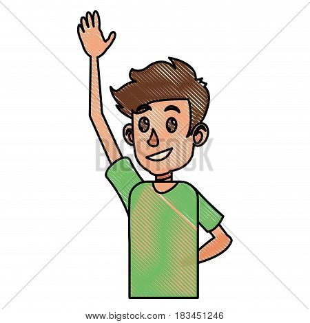 drawing young boy teen arm up vector illustration