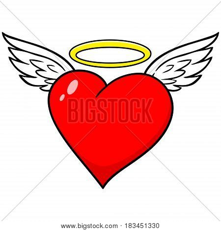A vector illustration of a heart with wings and a halo.